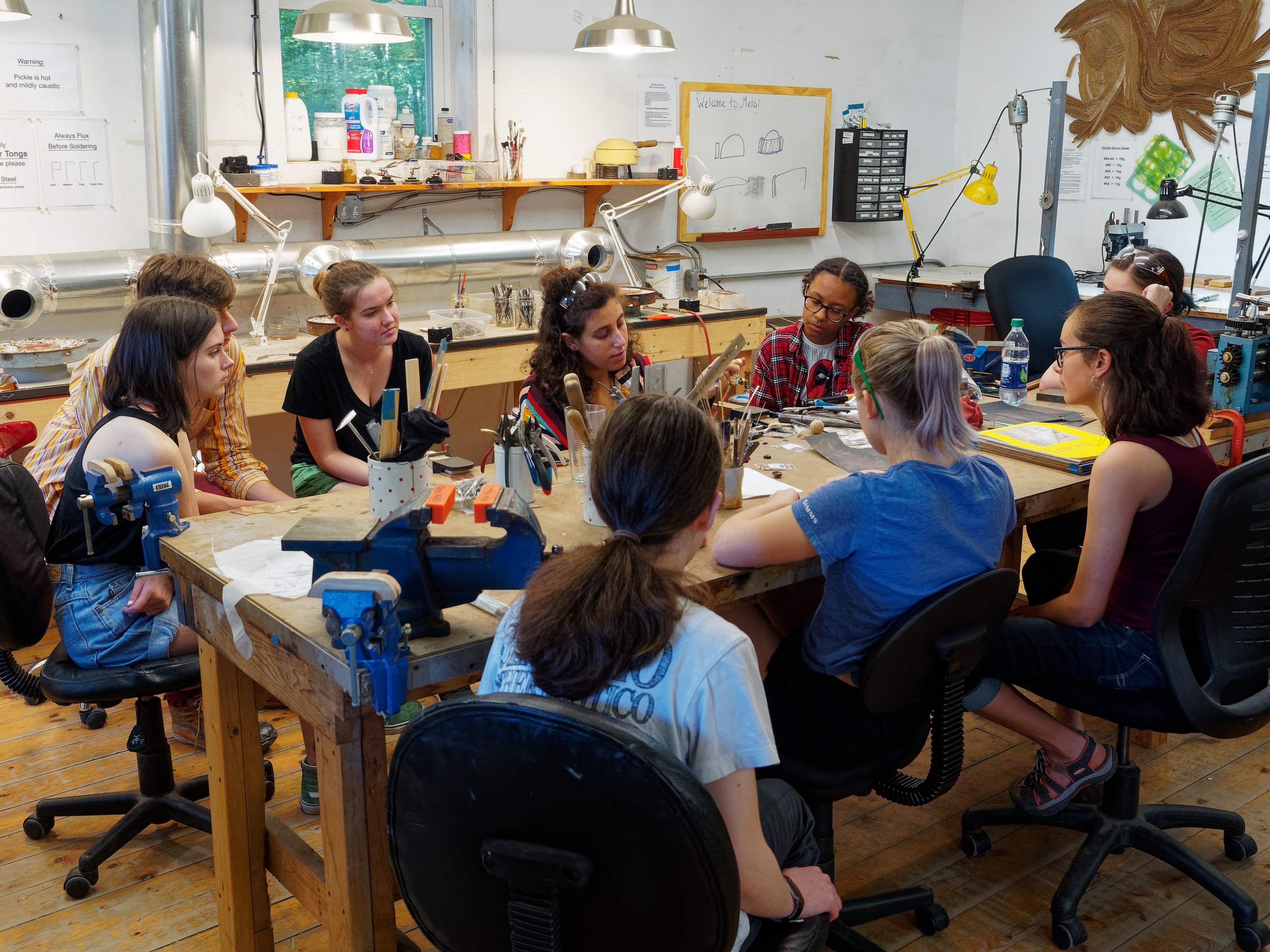 metalsmithing studio, learning art, workshop for teens