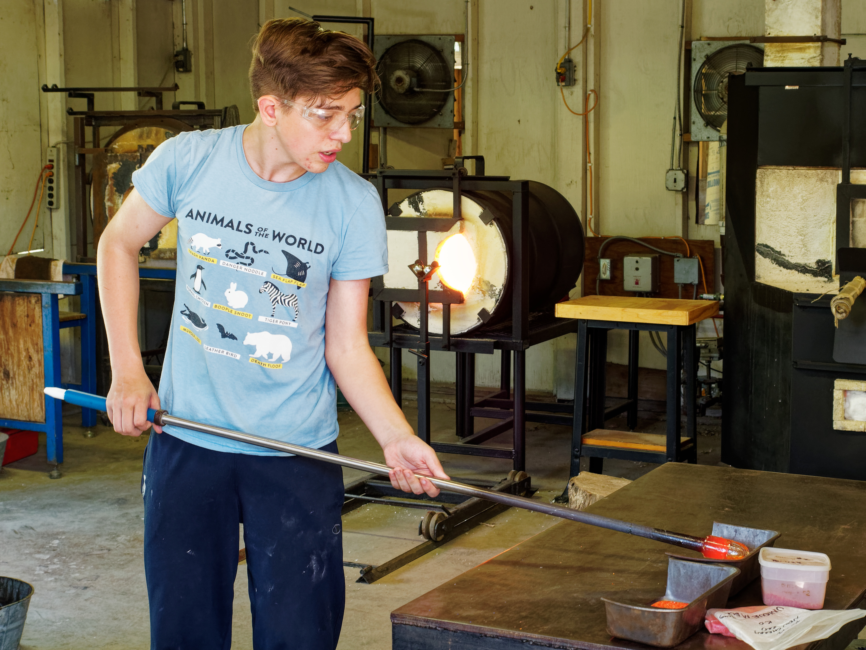 glassblowing, young artists, high school art, art camp