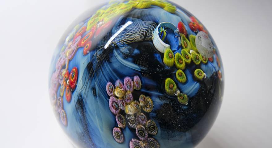 josh simpson, glass art, glass planets
