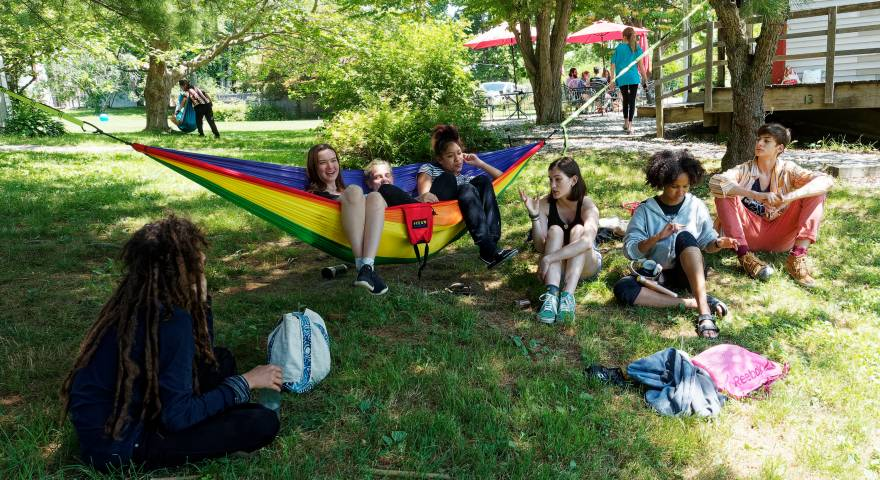 art camp, hammocks, hanging out, best friends
