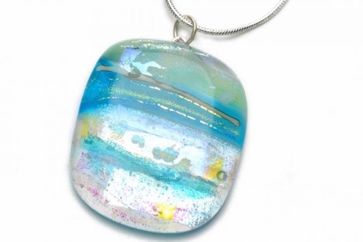 Lynn Haust, Kiln-Fired Dichroic Glass Pendants
