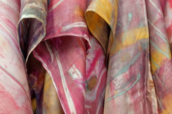 Kathy Klompas, Organic Expressions, Fluid Monoprint on Silk