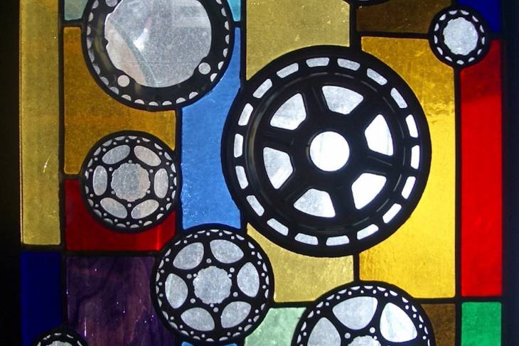 stained glass with found objects