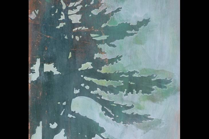 2D & Mixed Media. Daniel Embree. Patinated Metal Leaf on Paper