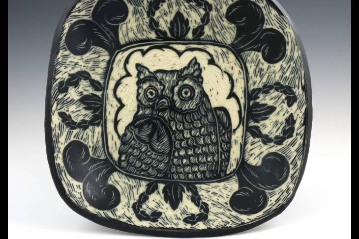 kathy king, functional pottery, animal images in clay