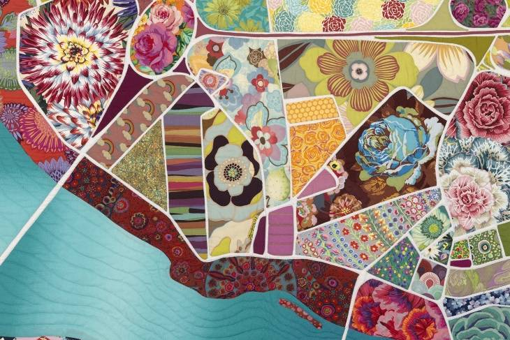 Fiber & Baskets. Timna Tarr. Mapmaking & Improvisational Quilting