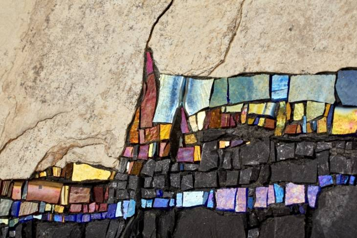 Casey Van Loon, Abstract Mosaics with Lustre Glass and Natural Stone