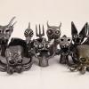 metal monsters, steel finger puppets, creepy monsters