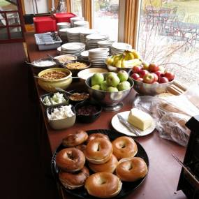 breakfast buffet, bagels, craft school experience