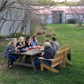 picnic tables, outdoor dining, asparagus valley pottery trail party