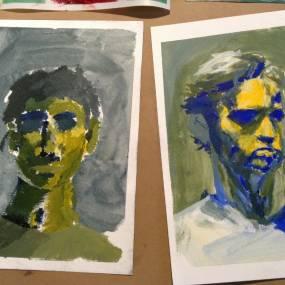 self portrait by high school art students