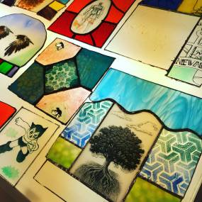 painting on glass, fused glass, stained glass, joseph cavalieri