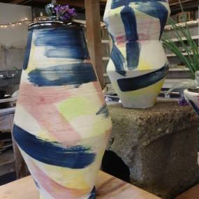 high school ceramics, colorful pottery