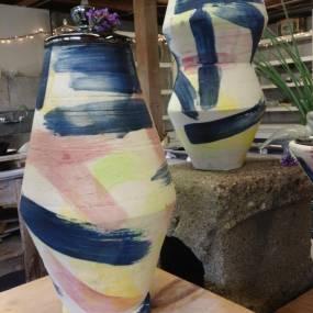 high school ceramics, colorful pottery