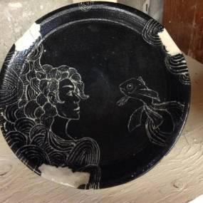 high school ceramics, handmade plate, engraved ceramic plate