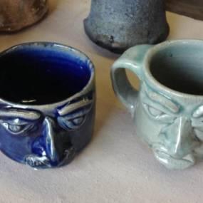 high school ceramics, handmade mugs, mugs with mugs