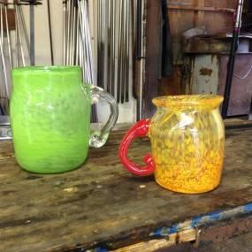 handblown glass mugs