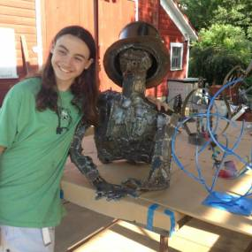 steel sculpture, learn welding teenager, high school art camp, summer art