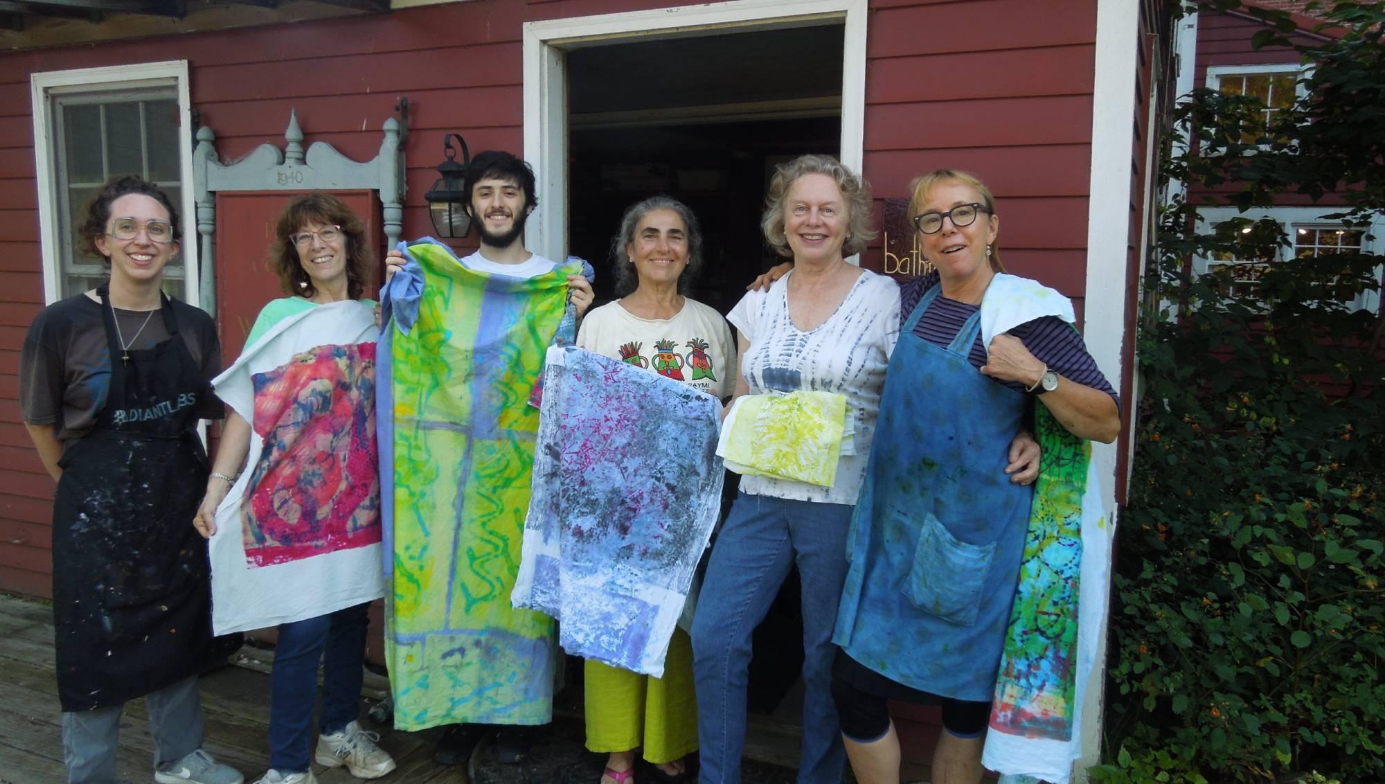 dying fabric, snow farm workshop, farmhouse studio