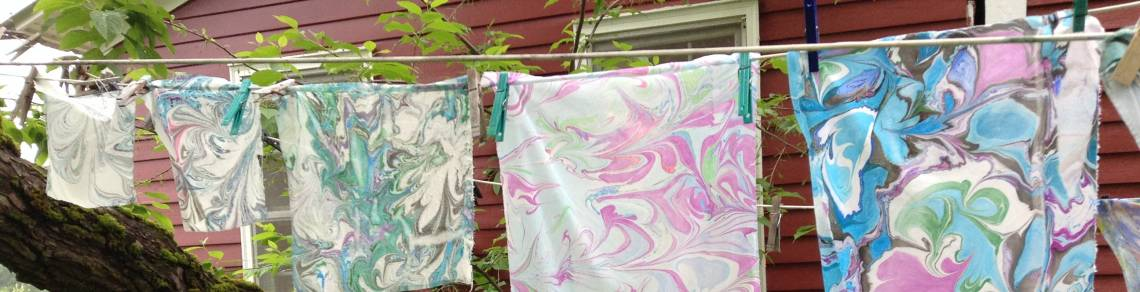 marbled fabric, silk painting, how to marble