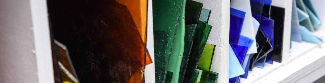 kiln glass, stained glass, flat glass, cold glassworking