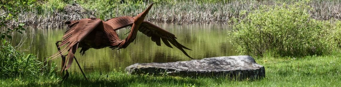 metal sculpture, bird sculpture, new england ponds, snow farm craft